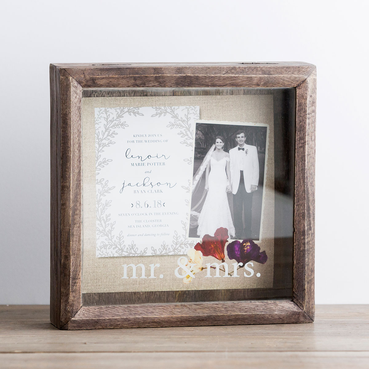 Mr. & Mrs. - Wooden Keepsake Shadow Box