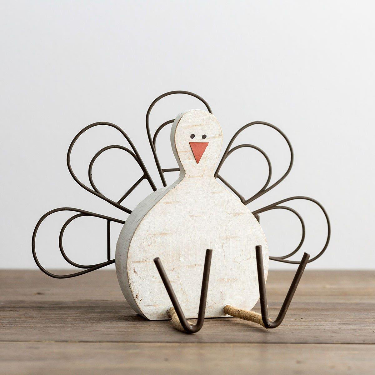 Thankful - Wood & Metal Turkey Card Holder Set