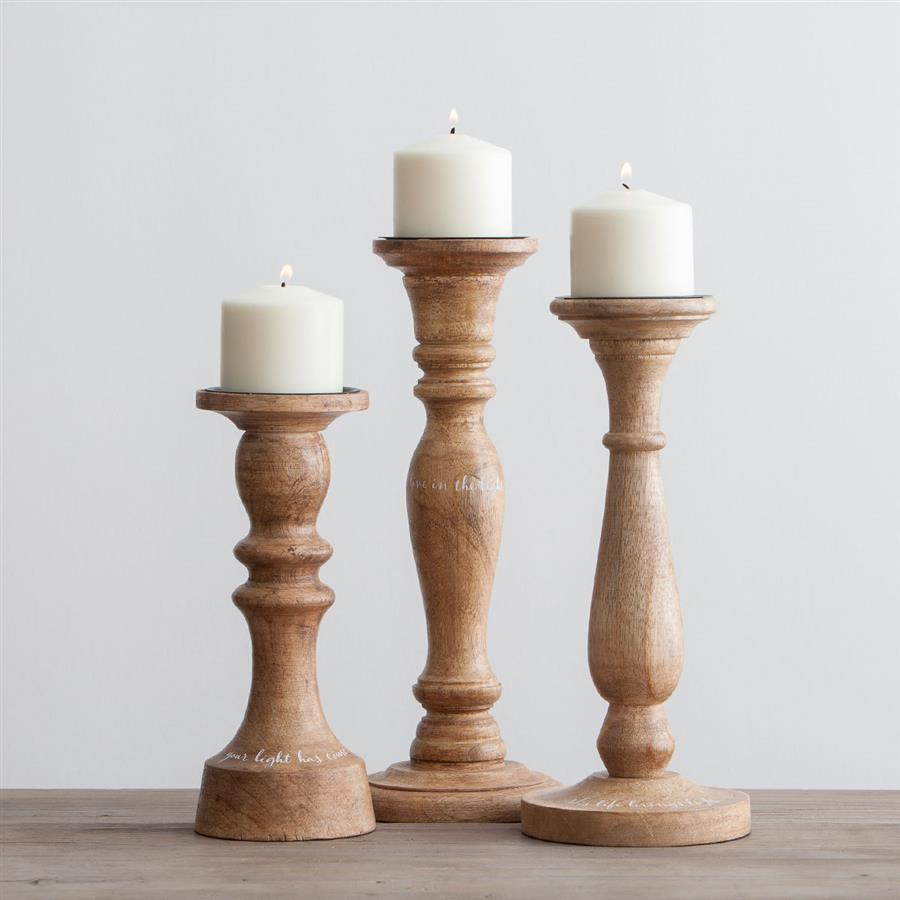 Everlasting Light - Wooden Candlestick Holders, Set of 3