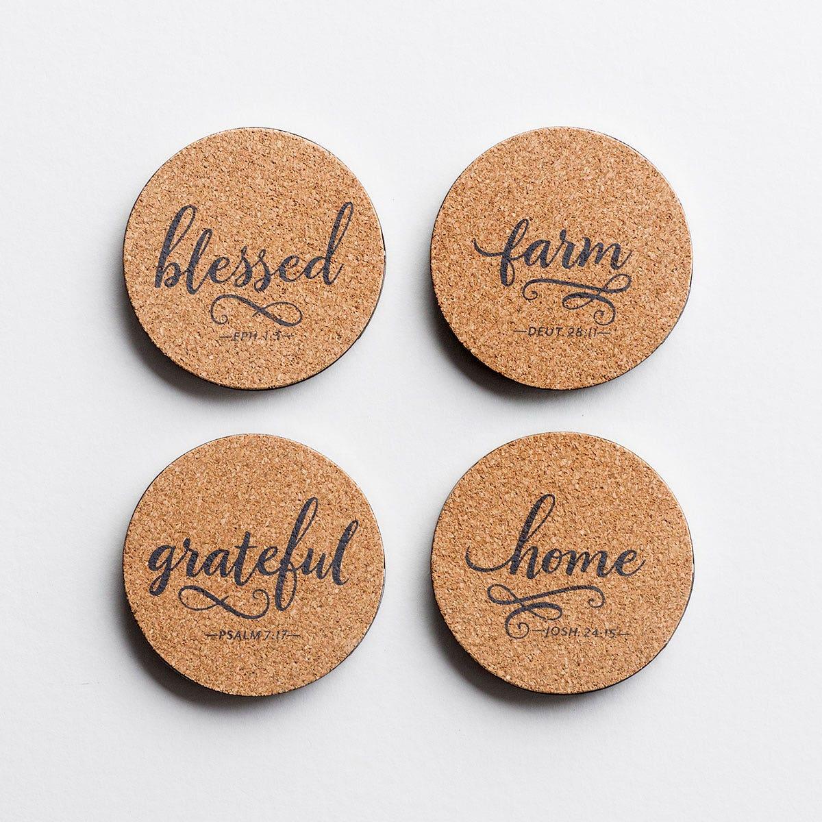 Farm, Home, Grateful, Blessed - Cork & Metal Coasters, Set of 4