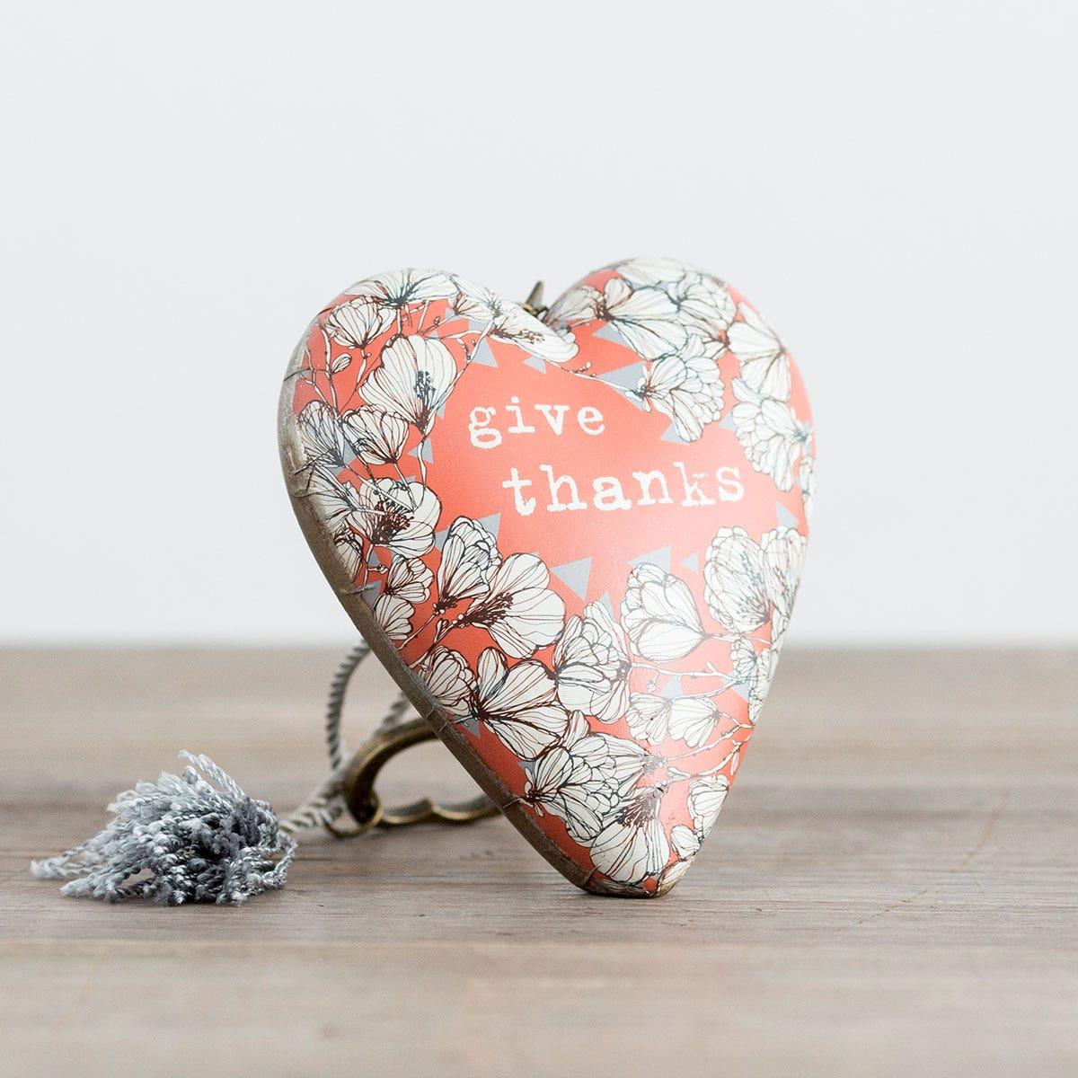 Give Thanks - Art Heart Sculpture