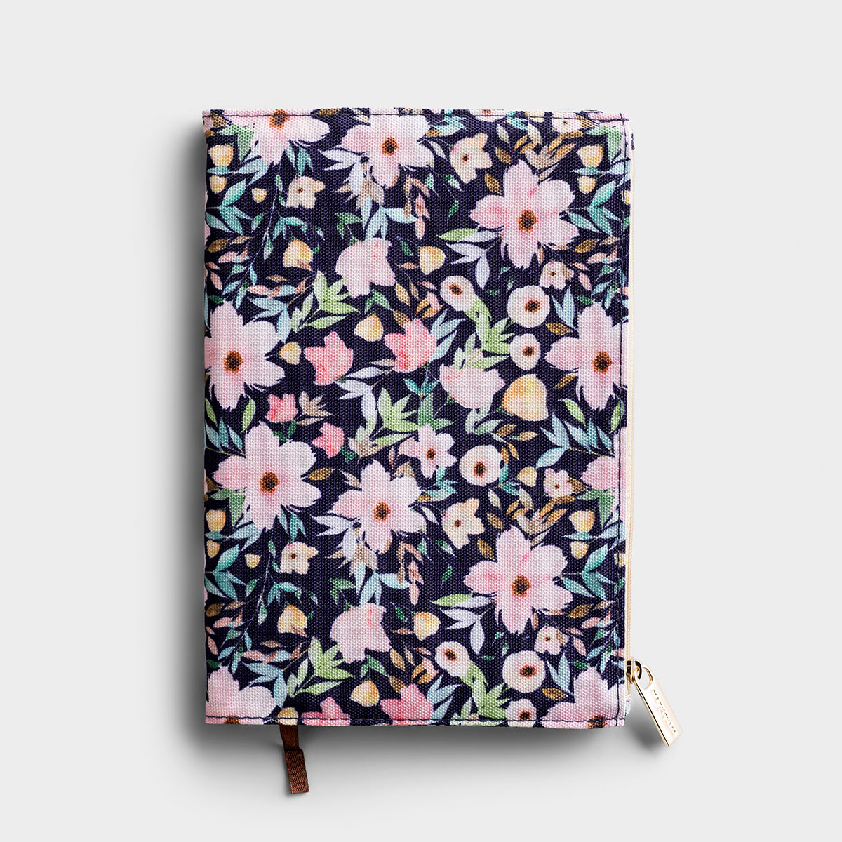 Floral Zip Pouch Journal - Navy