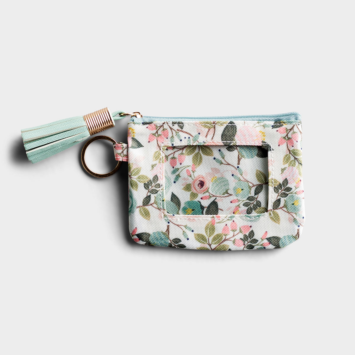 Peach Floral ID Wallet with Tassel