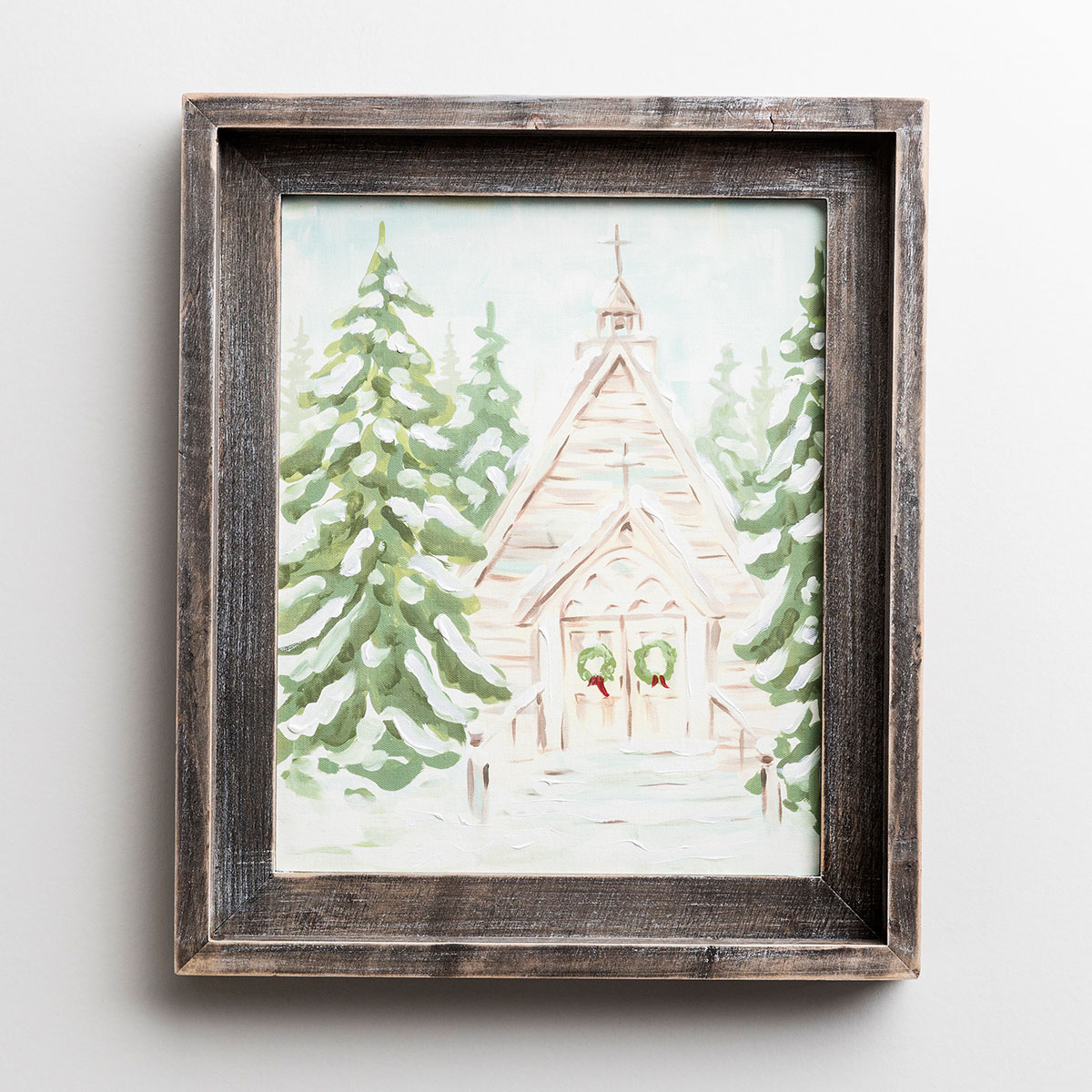 Christmas Church - Wood Framed Canvas