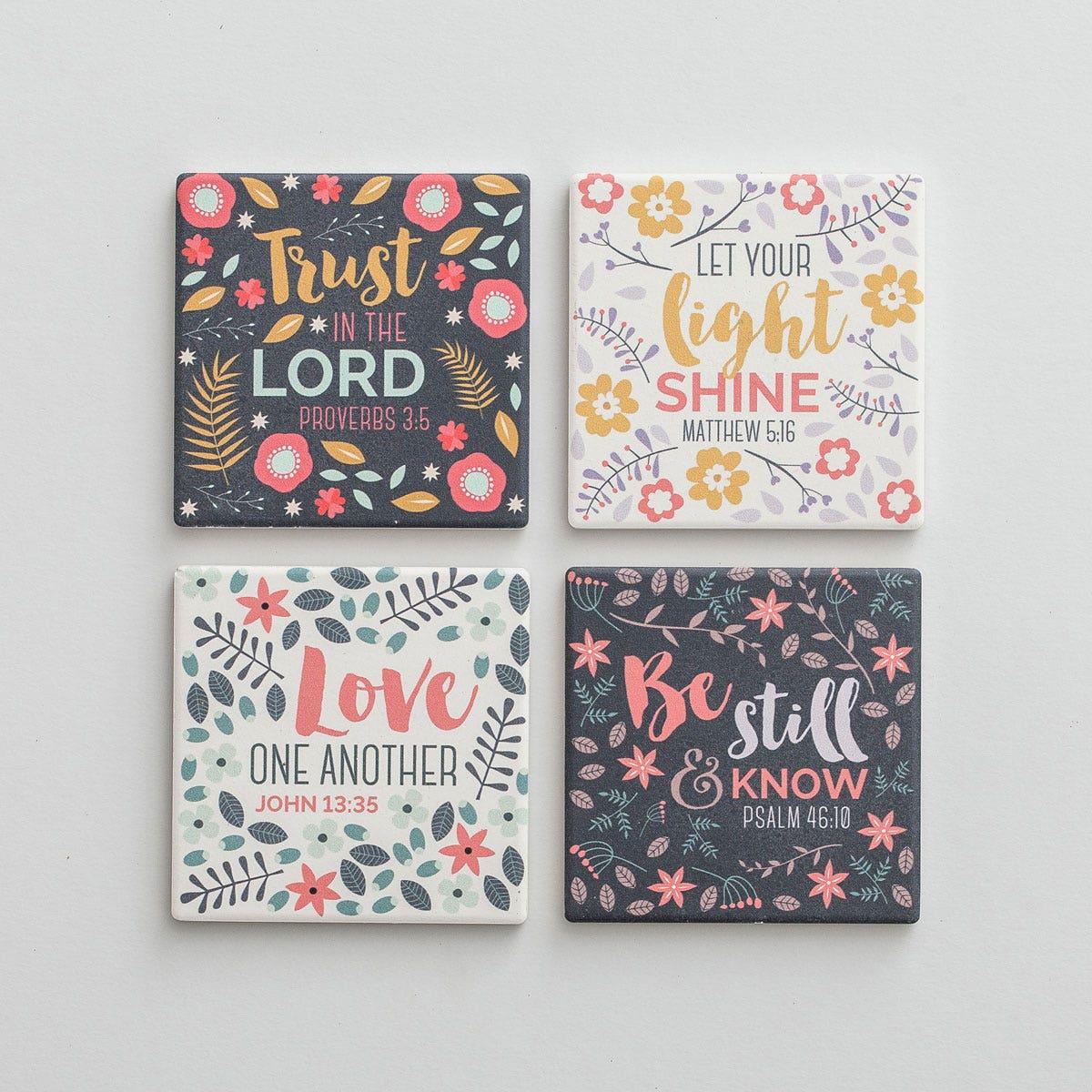 Scripture - Ceramic Coasters, Set of 4