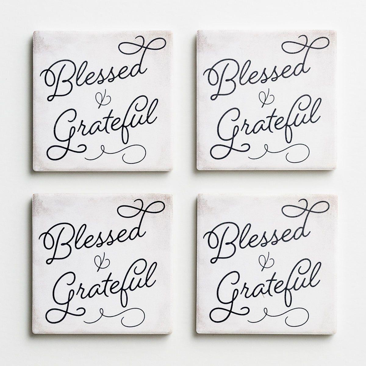 Blessed & Grateful - Ceramic Coasters, Set of 4