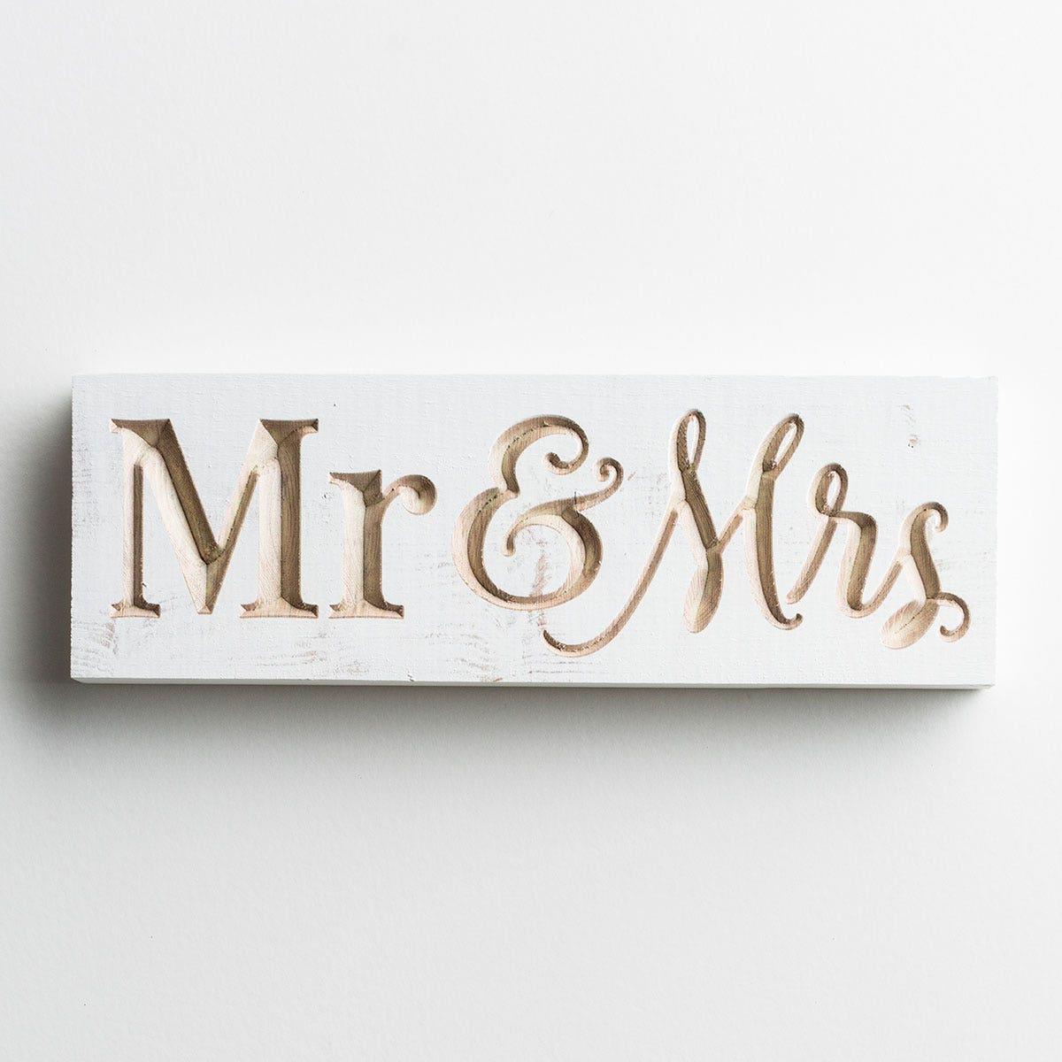 Mr & Mrs - Carved Wooden Block