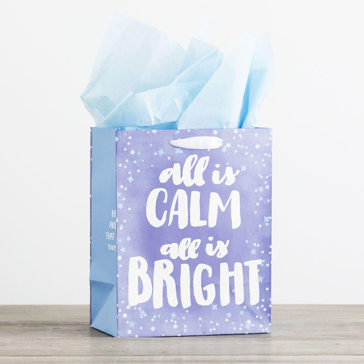 All Is Calm, All Is Bright - Medium Christmas Gift Bag, KJV