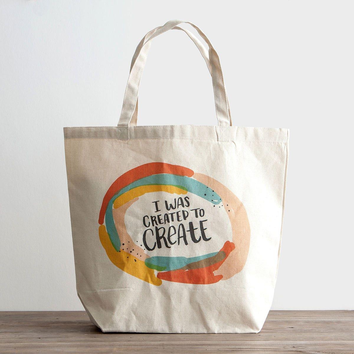 Illustrated Faith - I Was Created to Create - Canvas Tote Bag