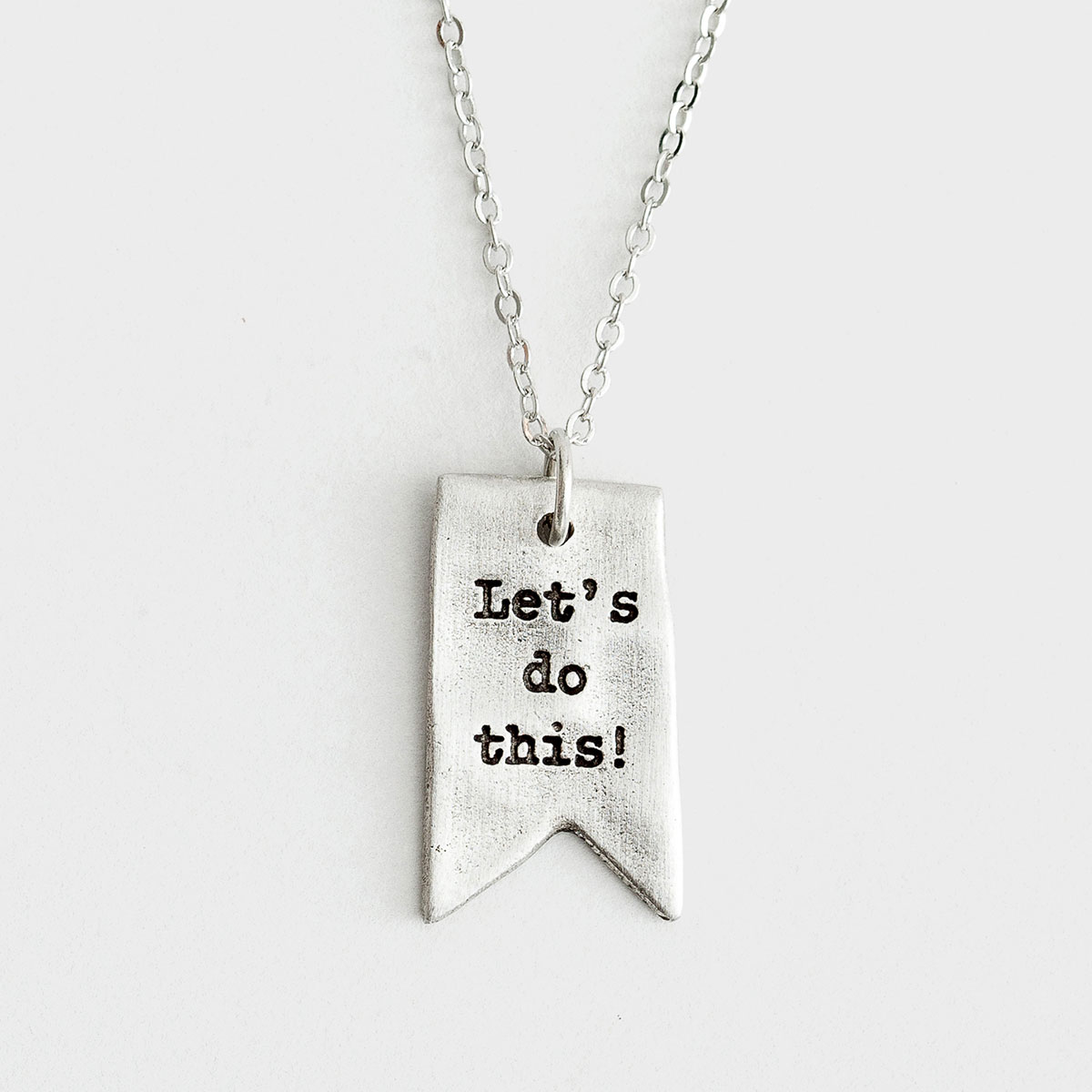 Illustrated Faith - Let's Do This - Brushed Pewter Necklace