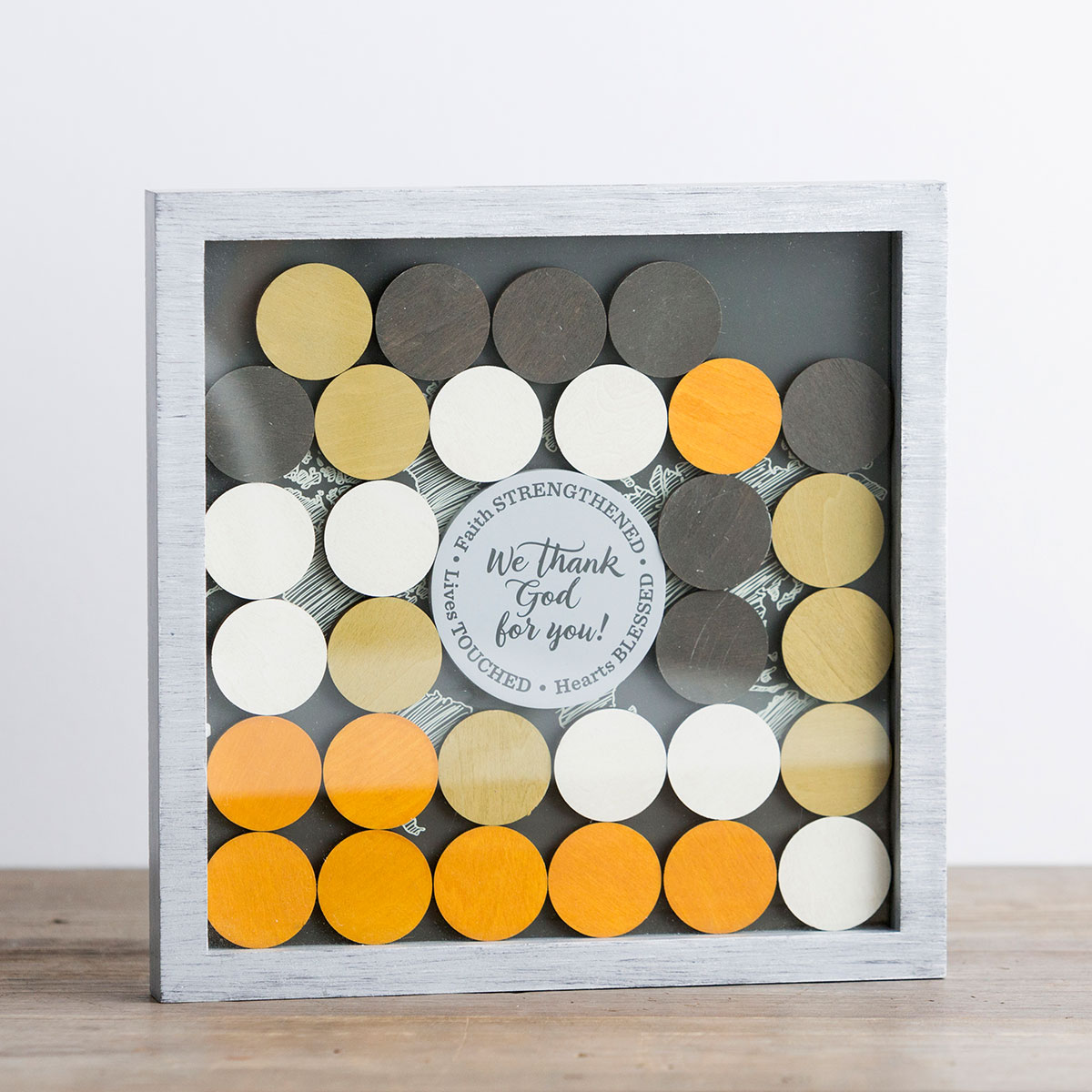 We Thank God for You - Wood & Glass Shadow Box Plaque with Wooden Coins