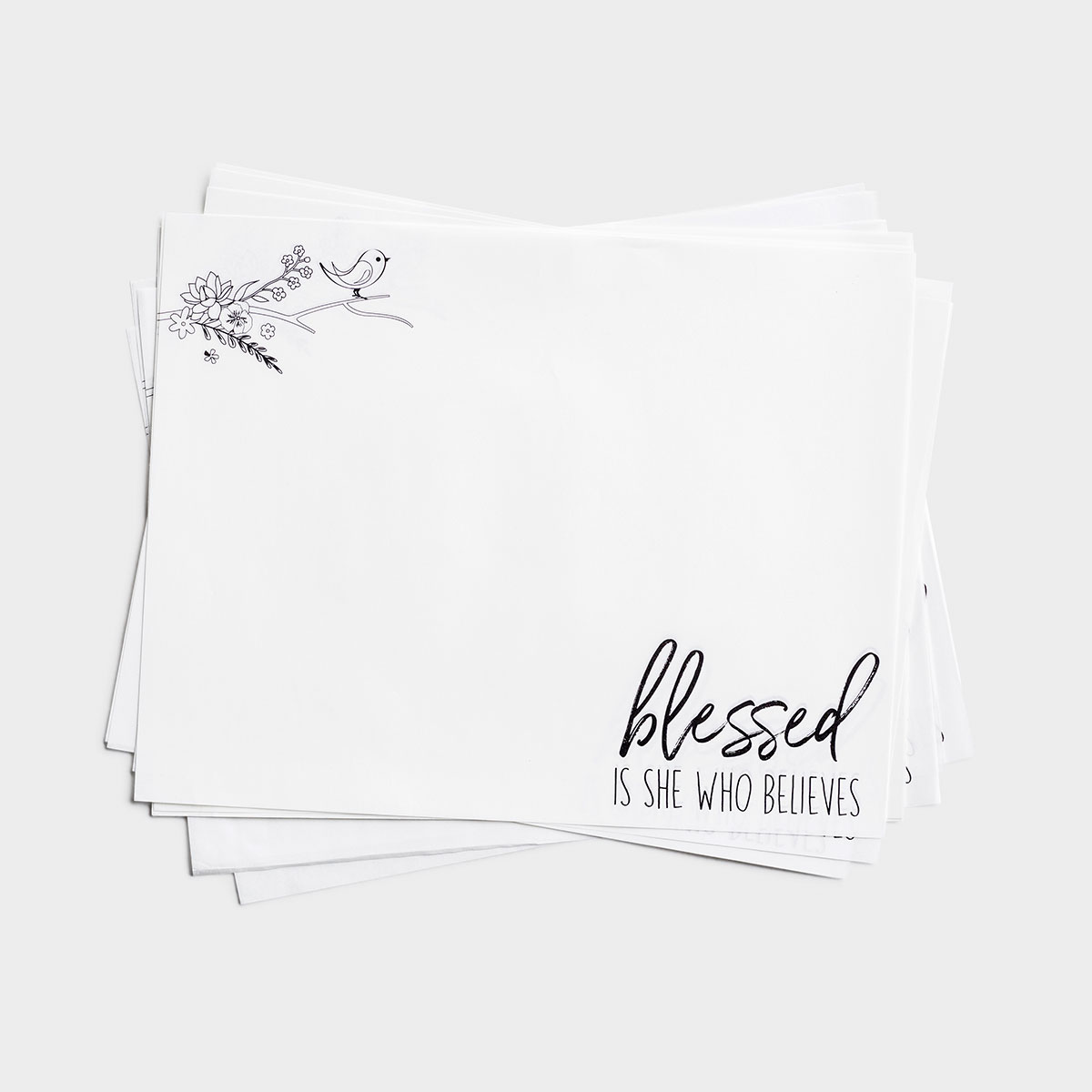 Blessed Is She Who Believes - Paper Snack Sheets, 25 Per Pack