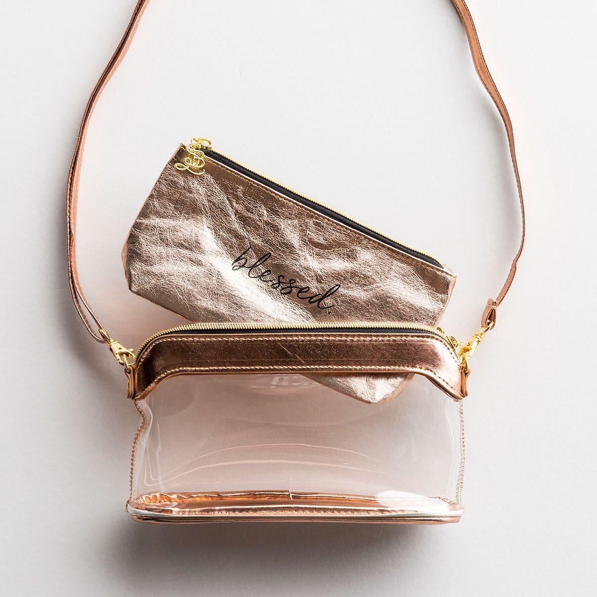 Blessed - Rose Gold - Clear Stadium Bag & Stadium Bag Insert Gift Set