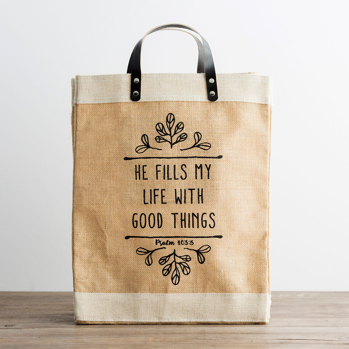 He Fills My Life with Good Things - Market Jute Tote Bag