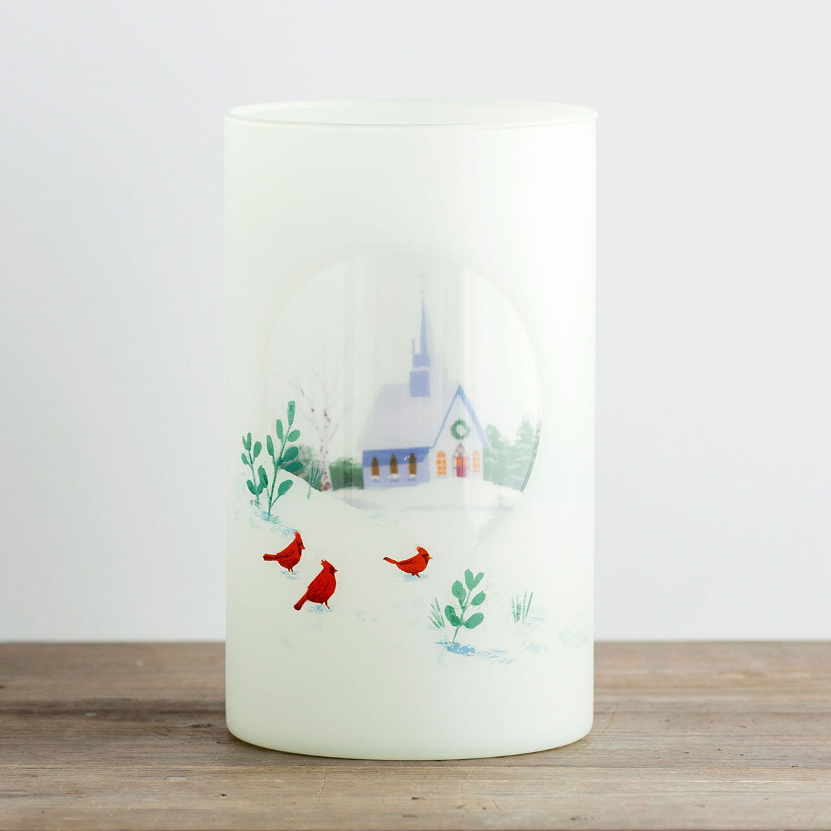 Country Church - Large Glass Christmas Candle Holder