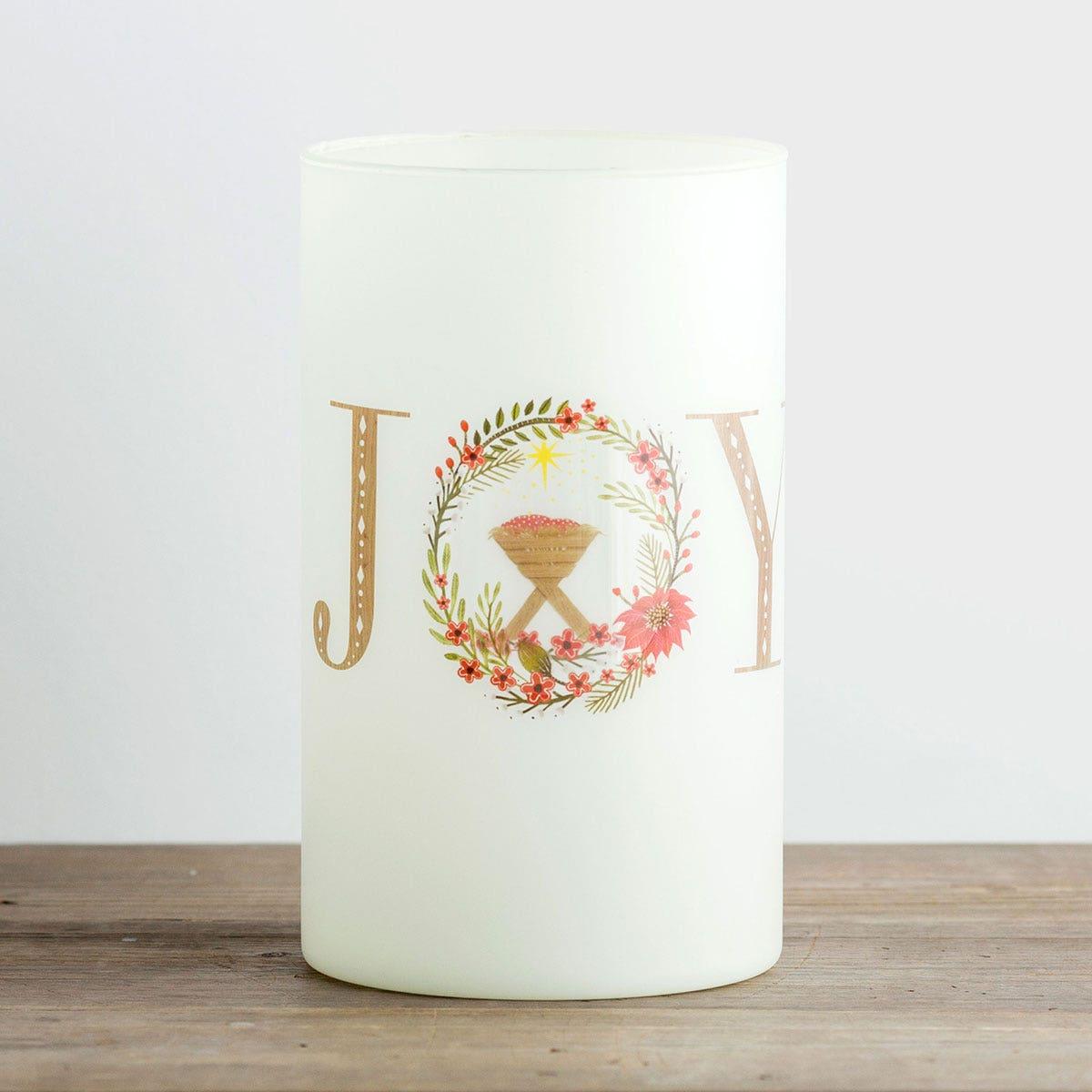 Joy - Large Glass Christmas Candle Holder