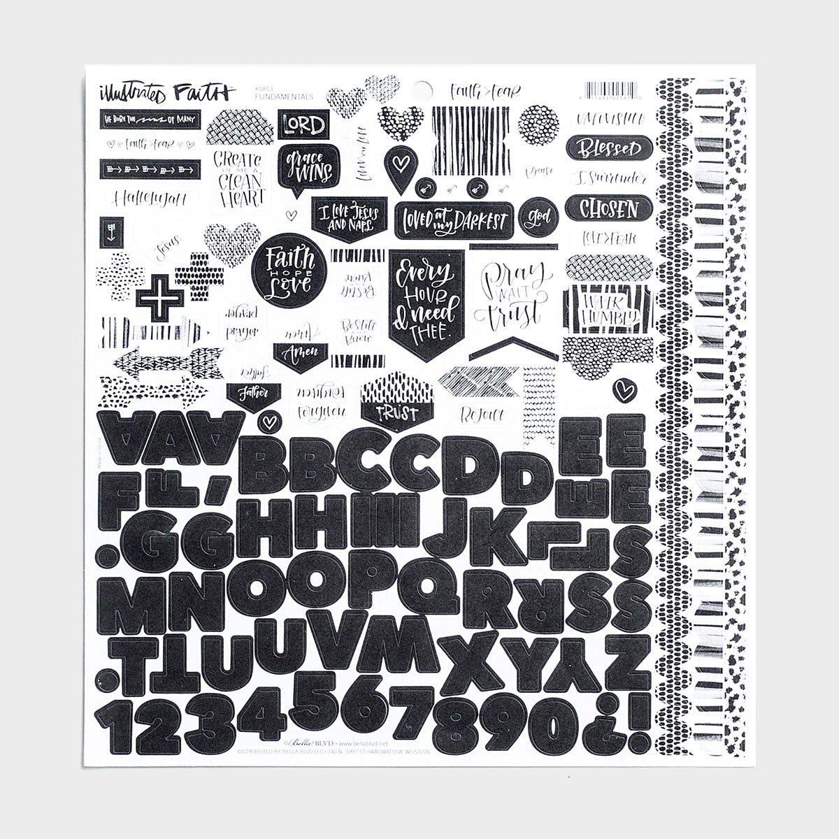 Illustrated Faith - Faith>Fear - Fundamentals - 121-Piece Cardstock Stickers