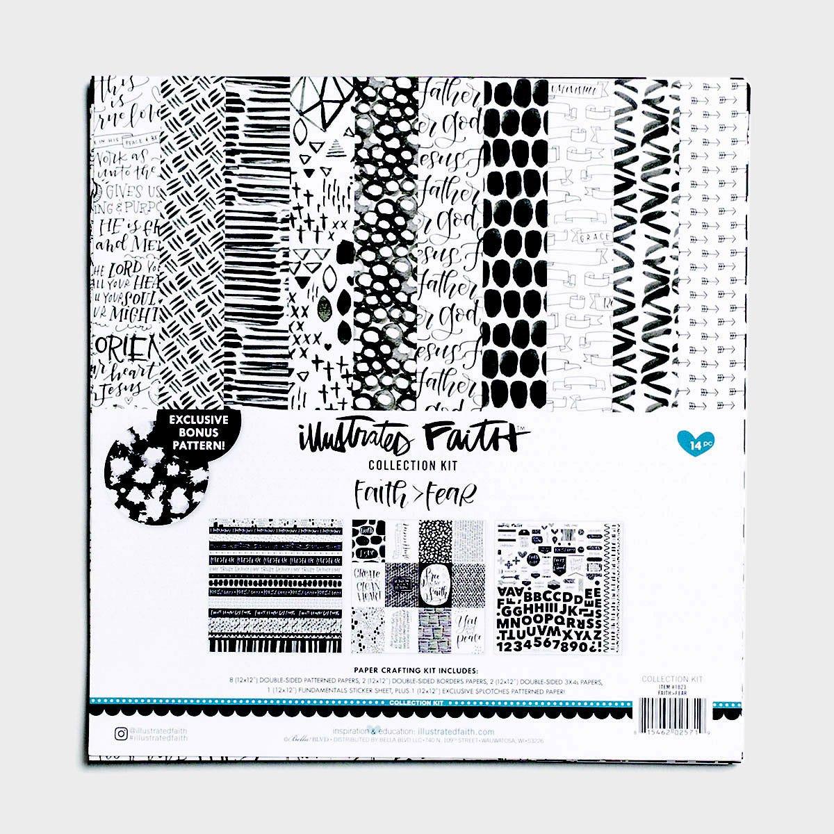 Illustrated Faith - Faith>Fear Collection, Set of 14 Sheets