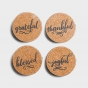 Joyful, Thankful, Grateful, and Blessed - Cork & Metal Coasters, Set of 4