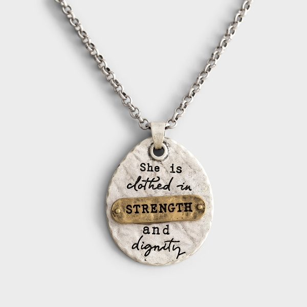 Give this She Inspires Strength and Dignity to someone who could be reminded that her strength comes from God. The adjustable chain and hypoallergenic metal makes it a great gift for any woman in your life.