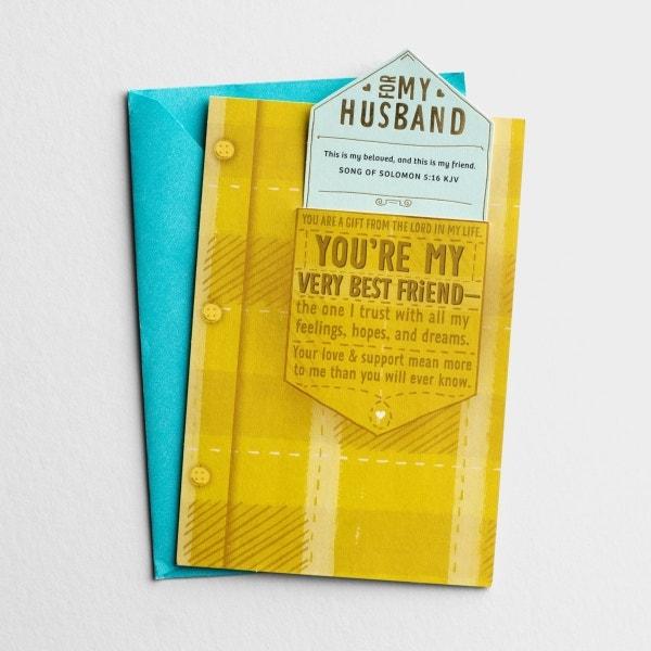 Birthday - Husband - My Very Best Friend - 1 Premium Card, KJV