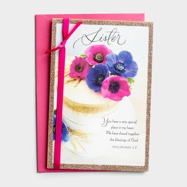 Birthday - Sister - Floral Cake - 1 Premium Card