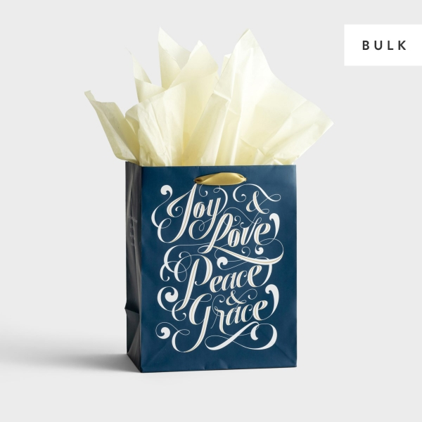 Joy and Love - Medium Gift Bag with Tissue Paper - 145 Units - Bulk Discount