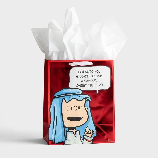 Peanuts Christmas - For Unto You Is Born This Day - Large Christmas Gift Bag