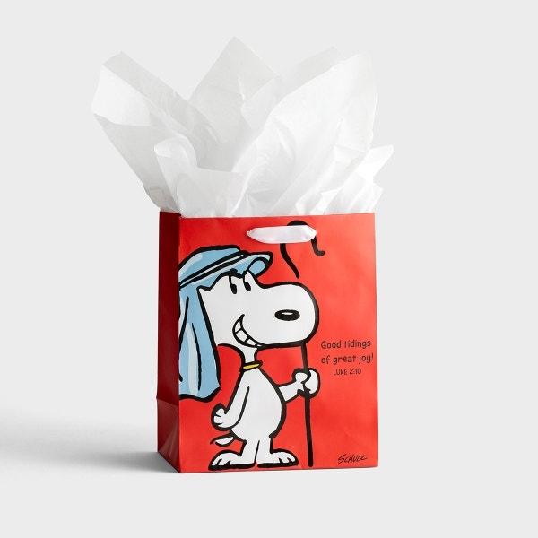 Peanuts Christmas - Good Tidings - Medium Christmas Gift Bag