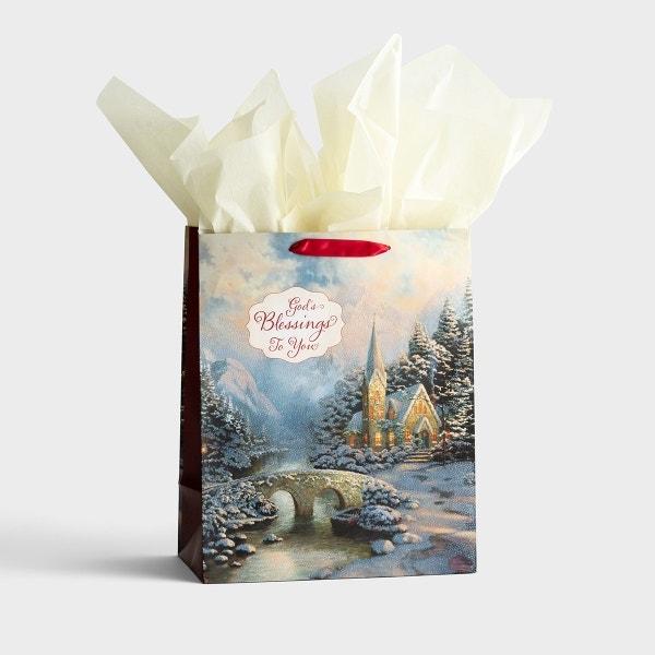 Thomas Kinkade - God's Blessings to You - Large Christmas Gift Bag, KJV