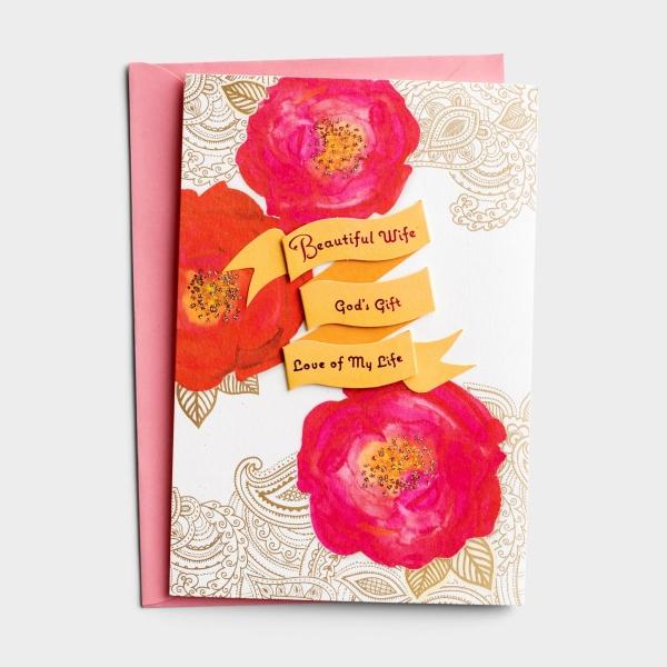 Anniversary - Beautiful Wife - 1 Premium Card