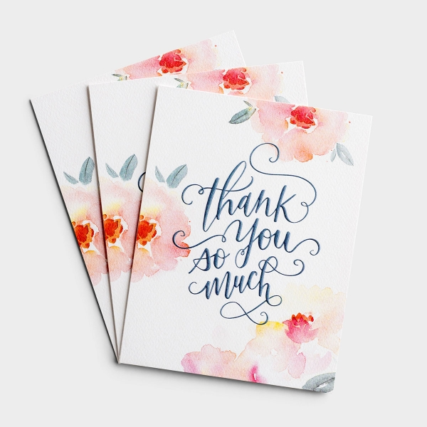 Thank You - Pink Floral - 3 Premium Studio 71 Cards