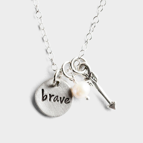 Brave - Pewter Pendant Necklace with Arrow