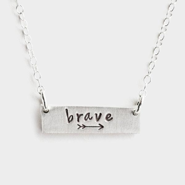 Brave - Pewter Bar Necklace