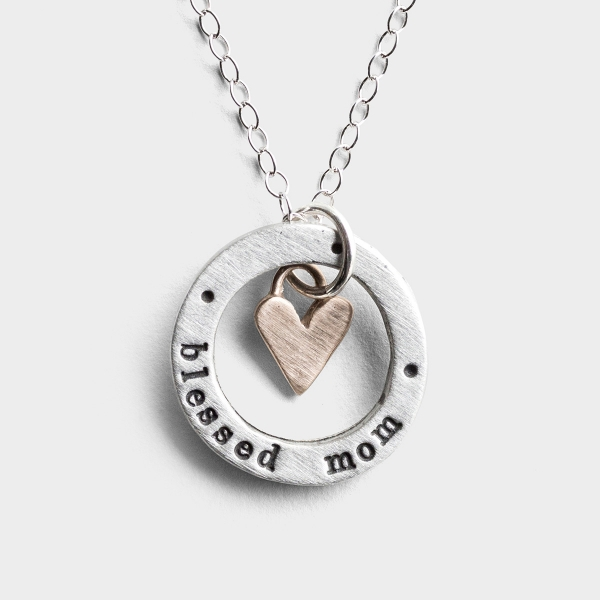 Blessed Mom - Pewter Pendant Necklace
