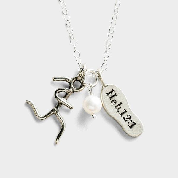 Run with Endurance - White Bronze Pendant Necklace
