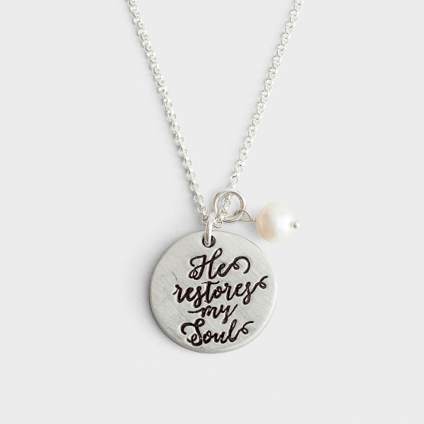 He Restores My Soul - Pewter Pendant Necklace