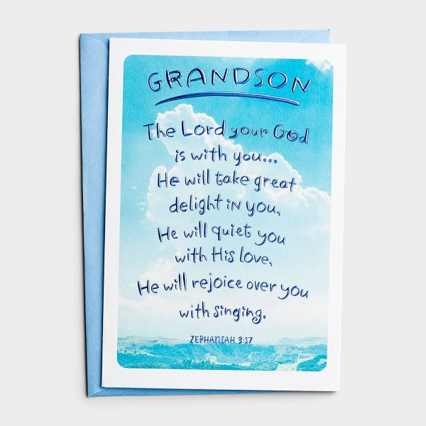Confirmation - Grandson - Sky - 1 Premium Card