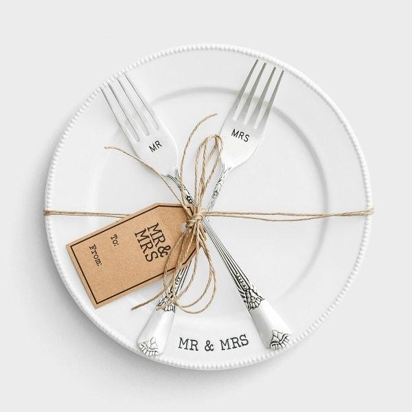 Mr. & Mrs. - Plate & Fork Set