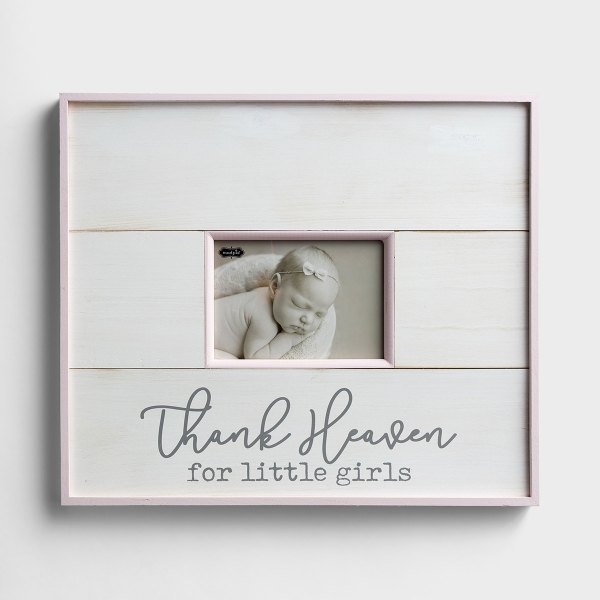 Thank Heaven for Little Girls - Wooden Wall Picture Frame, Holds 5x7 Photo