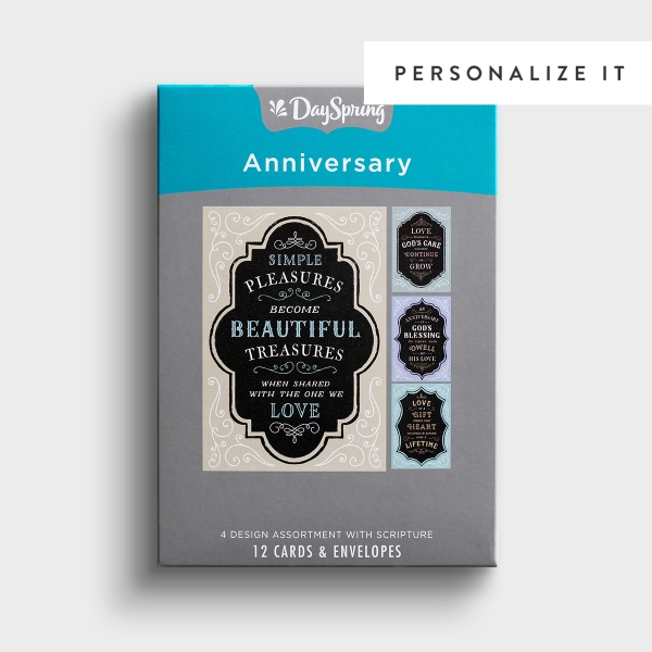 Anniversary - Chalkboard Blessings - 12 Boxed Cards