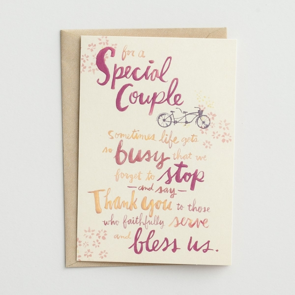 Ministry Appreciation - For a Special Couple - 1 Premium Card