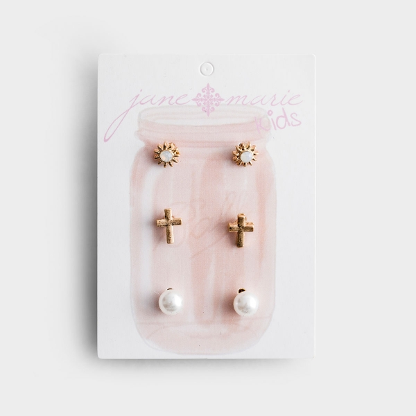 Three Pair Studded Earring Set for Young Girls