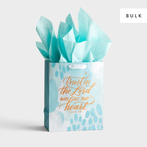 Trust in The Lord - Medium Gift Bag with Tissue Paper - 130 Bags - Bulk Discount