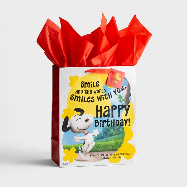 Peanuts - Happy Birthday - Large Gift Bag with Tissue