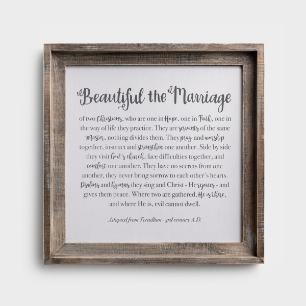 Beautiful the Marriage - Framed Fabric Board