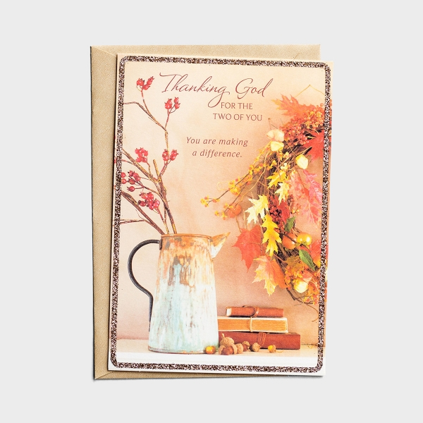 Ministry Appreciation - Pastor & Wife - Thanking God - 1 Premium Card