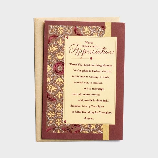 Ministry Appreciation - With Heartfelt Appreciation - 1 Premium Card