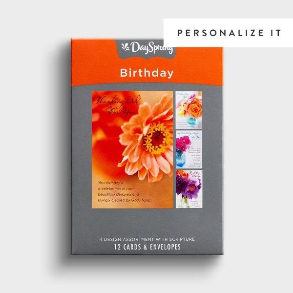 Birthday - Flower Photos - 12 Boxed Cards, KJV