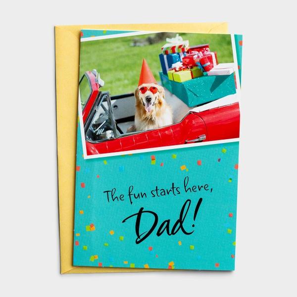 Birthday - Dad - Fun Starts Here - 1 Premium Card